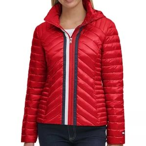 Tommy Hilfiger Quilted Zip Puffer Red Coat